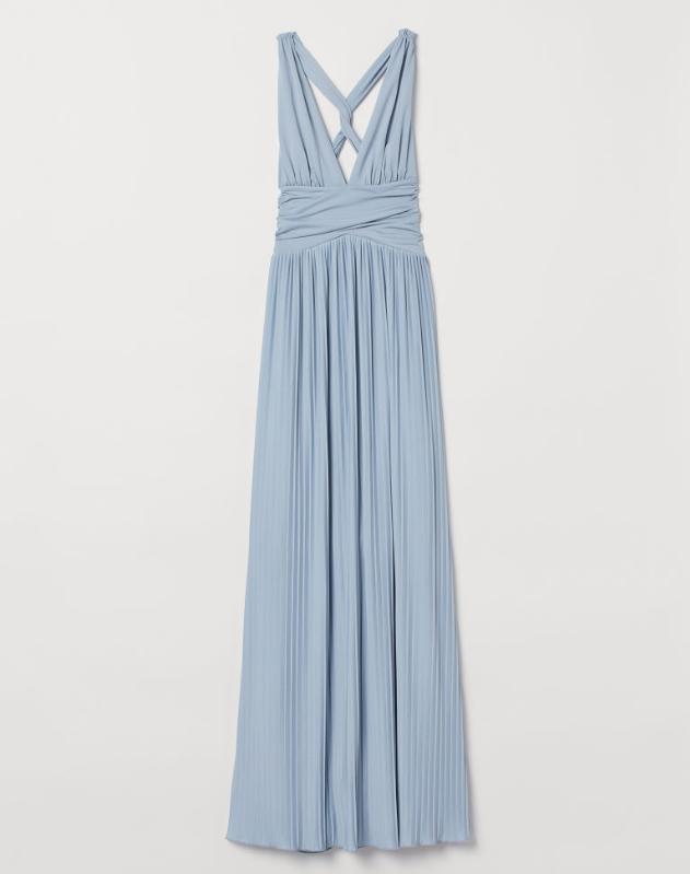 Screenshot_2020-01-14 Długa sukienka plisowana - Jasny brązowoszary - ONA H M PL