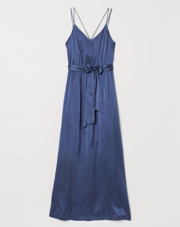 Screenshot_2020-01-14 Długa sukienka z jedwabiu - Granatowy - ONA H M PL