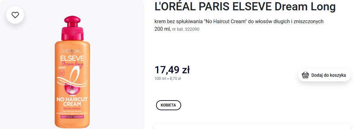 Screenshot_2020-10-29 L'ORÉAL PARIS ELSEVE, Dream Long, krem bez spłukiwania No Haircut Cream do włosów długich i zniszczon[...]