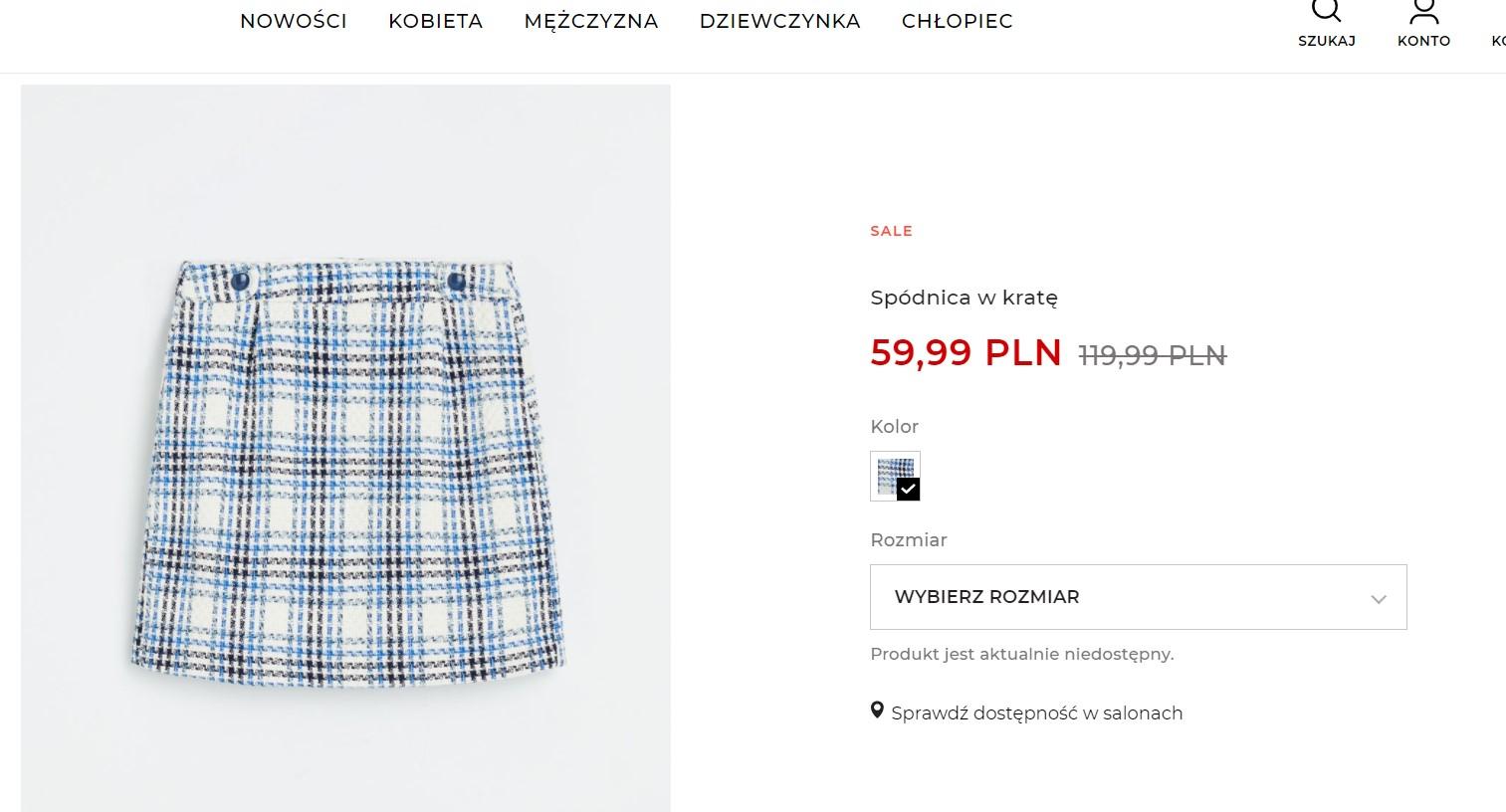 Spódnica w kratę w Reserved za 60 zł
