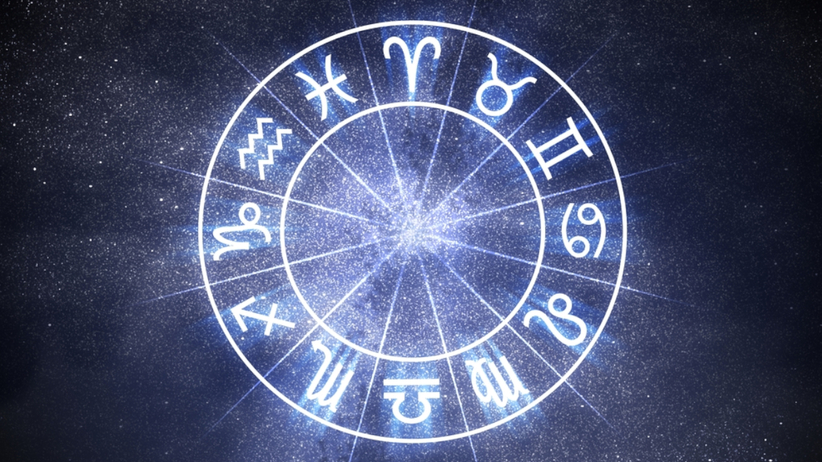 Symbole znaków zodiaku na tle gwiazd