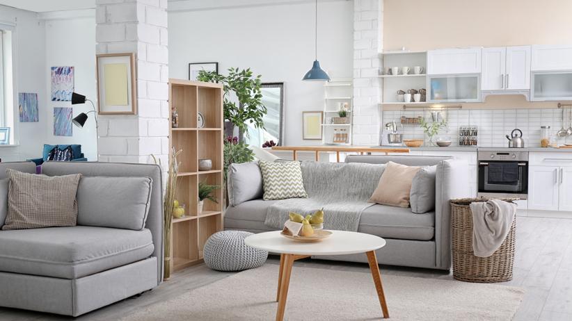 Salon z kuchnia oraz szafą kanapą i fotelem