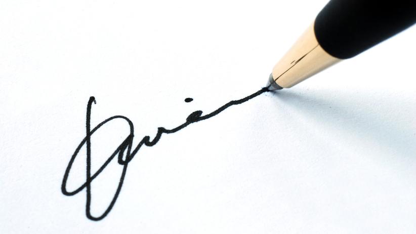 Podpis na kartce