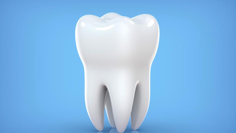 Ząb na niebieskim tle