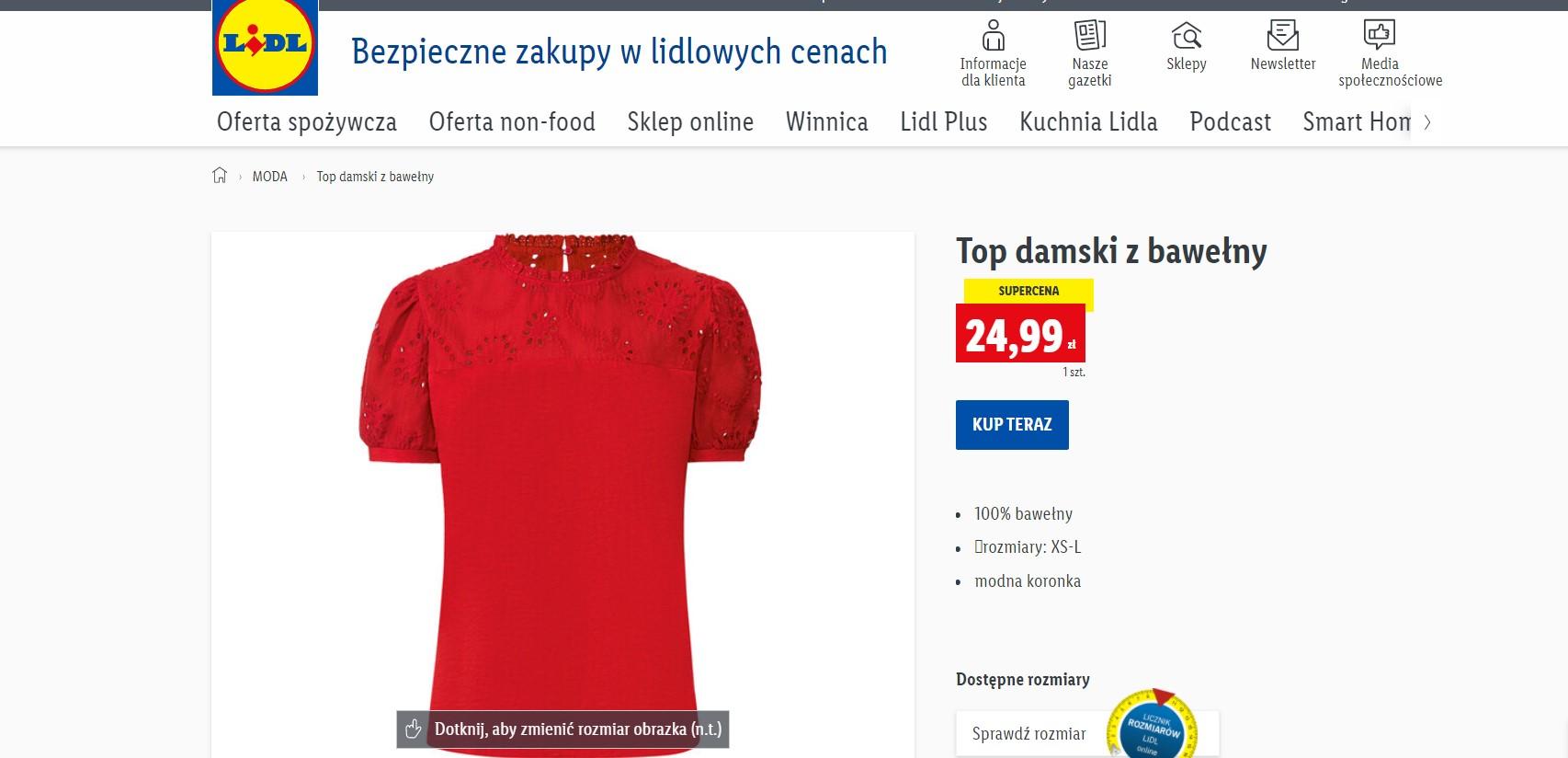 Czerwony t-shirt z koronką z Lidla