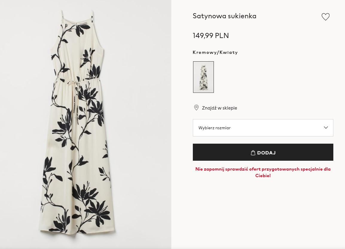 Długa sukienka na wesele z H&M
