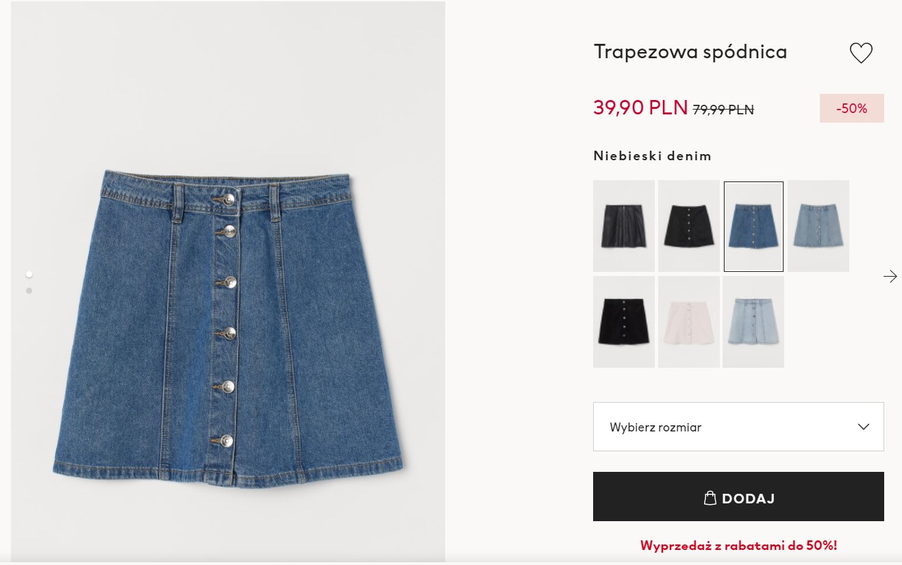 Jeansowa trapezowa spódnica w H&M
