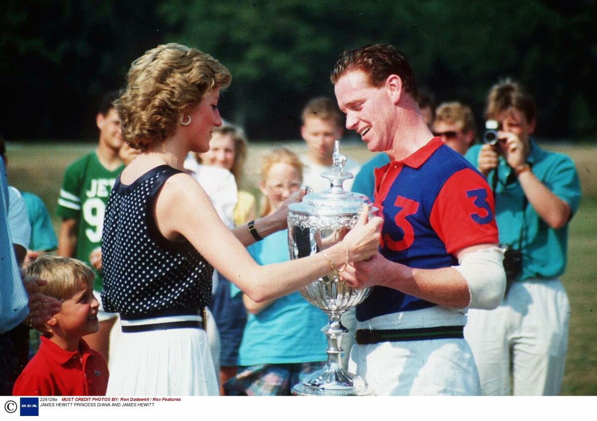 Księżna Diana wręcza puchar Jamesowie Hewittowi