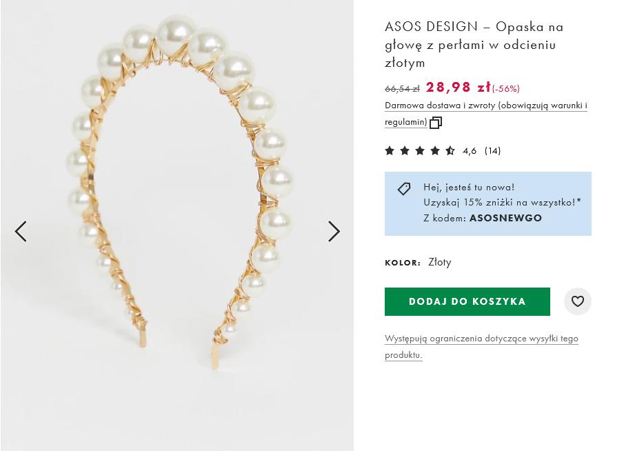 Screenshot_2021-03-15 ASOS DESIGN – Opaska na głowę z perłami w odcieniu złotym ASOS