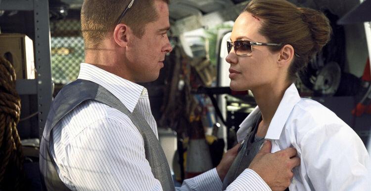 """Brad Pitt i Angelina Jolie w kadrze z filmu """"Pan i Pani Smith"""""""
