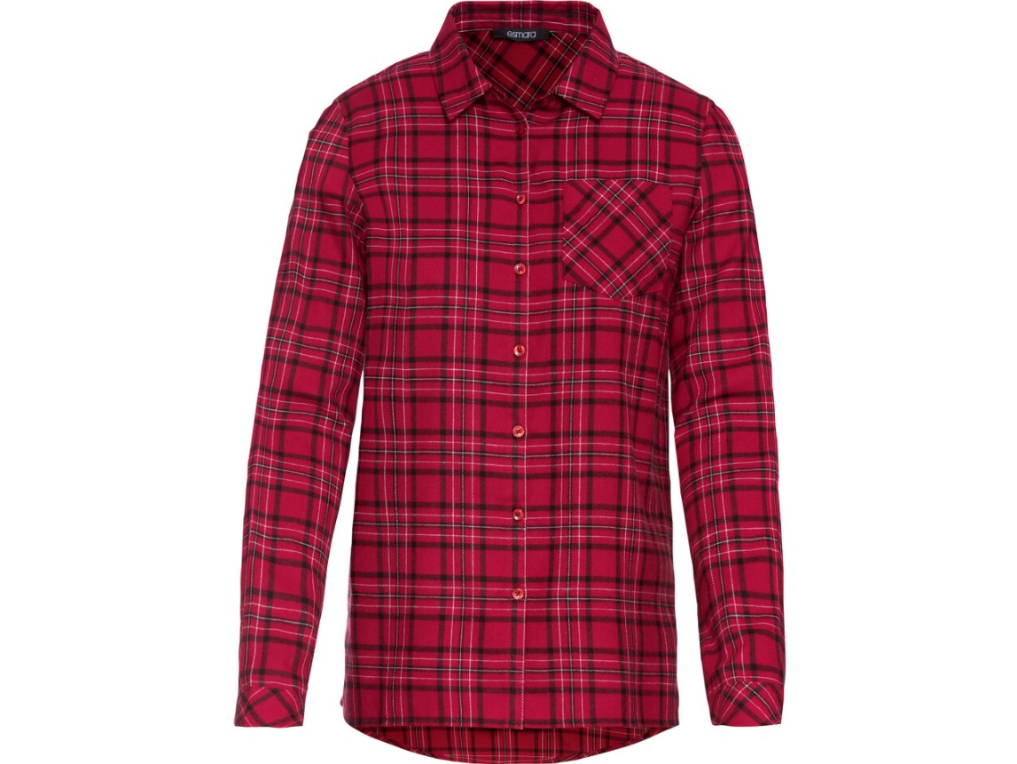 Flanelowa koszula z Lidla - czerwona w czarną kratę