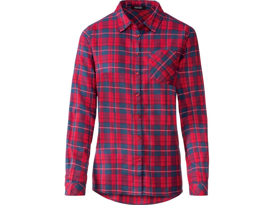 Flanelowa koszula z Lidla - czerwona w granatową kratę