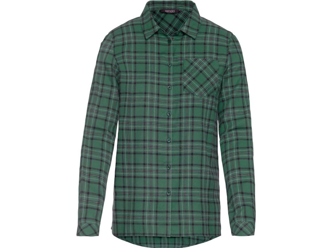 Flanelowa koszula z Lidla - zielona w czarną kratę