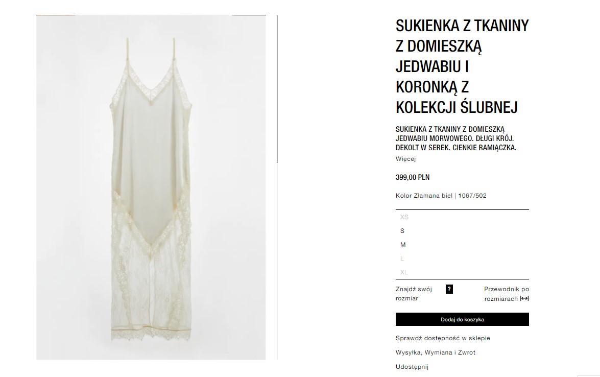 Jedwabna suknia ślubna z Zary