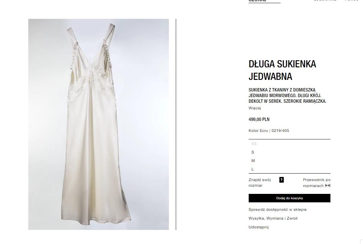 jedwabna suknia Zara