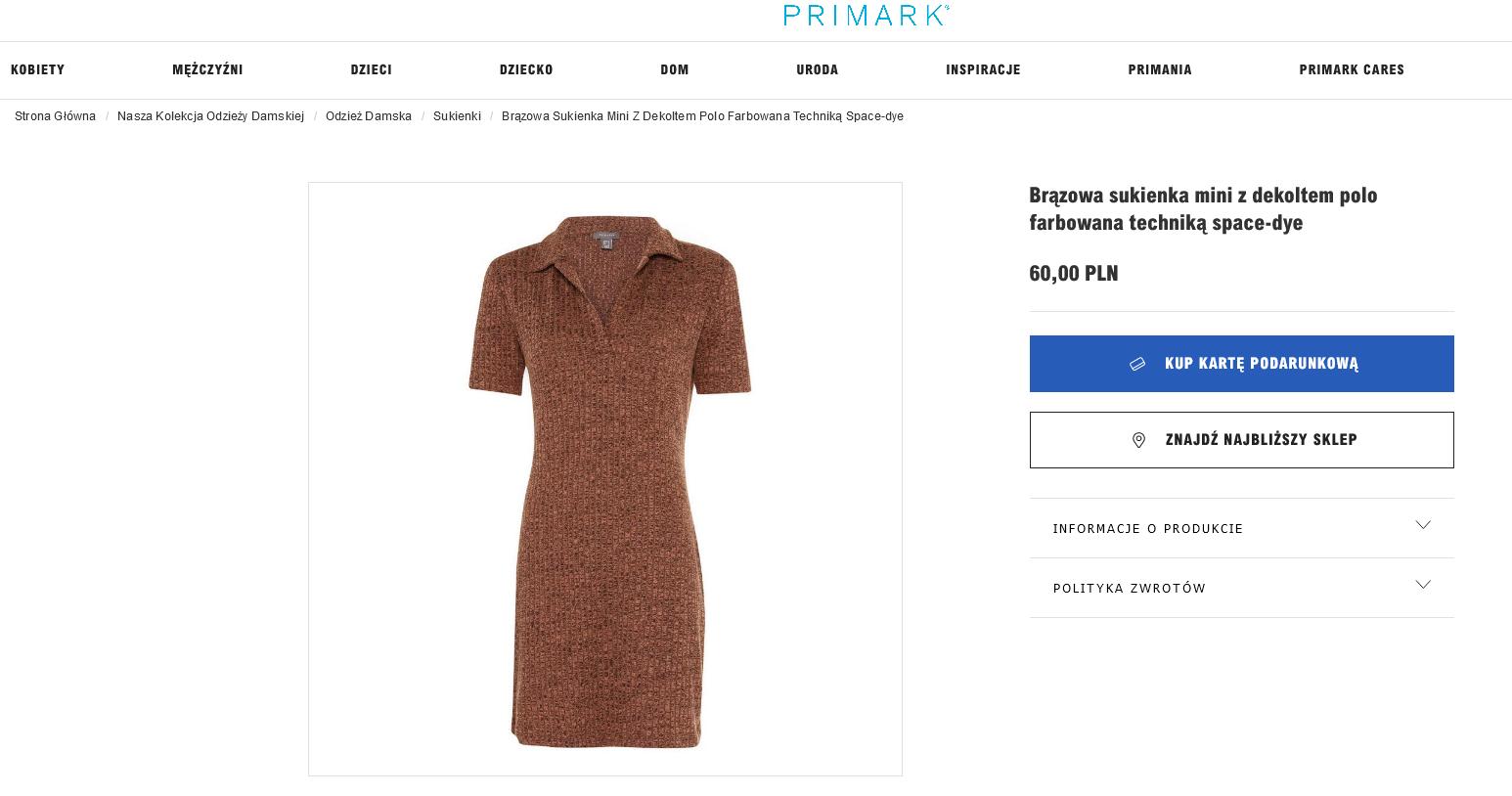 Screenshot 2021-09-27 at 09-09-35 Primark - Brązowa sukienka mini z dekoltem polo farbowana techniką space-dye