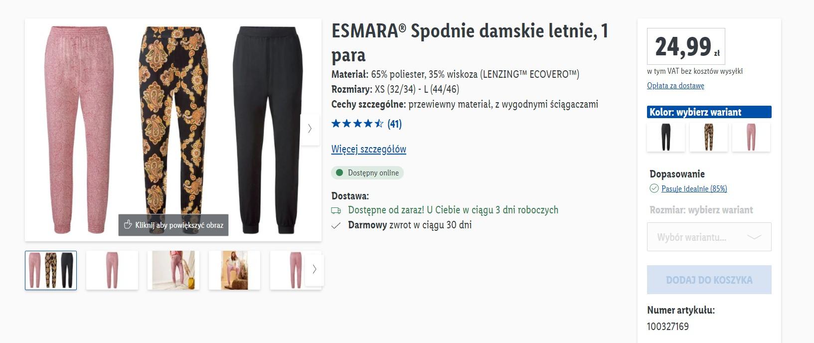 Spodnie z Lidla